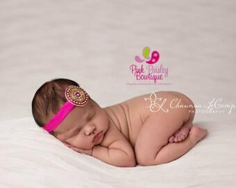 You Pick 1 Headband - Newborn headband - Baby Desi Headbands - Infant headband - Photography prop - Baby Bows - Indian Bows - Gold Hot Pink