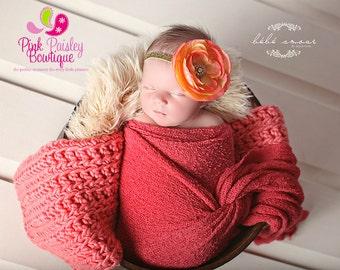 Baby Girl Headband - Baby headbands - Orange & Gold Headband - Baby Hair Accessories - Newborn Headband - Infant Headband - Fall Headband