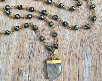 SALE Gemstone Horn Necklace // Rutilated Quartz, Clear, Gold, Pyrite Wire Wrapped Rosary Chain, Delicate Gemstone Layer, Boho Style