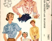 Beautiful Vintage 1950s McCall's 1651 Clover Embroidered Blouse Sewing Pattern B30