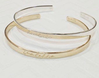 Stacking Silver Gold Bangle Bracelets - Hand stamped bracelets - Message bangles - Mother's Jewelry - Custom Cuffs -The Charmed Wife