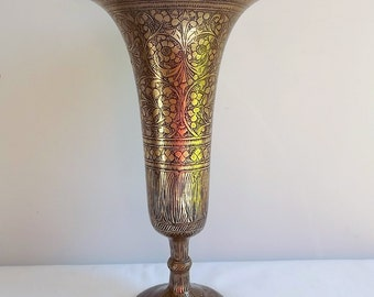 Large decorated brass vase