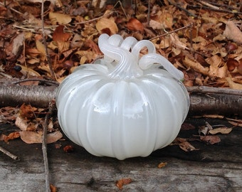 """4"""" Glass Pumpkin by Jonathan Winfisky -Retro Opaque Ivory - Hand Blown Glass"""