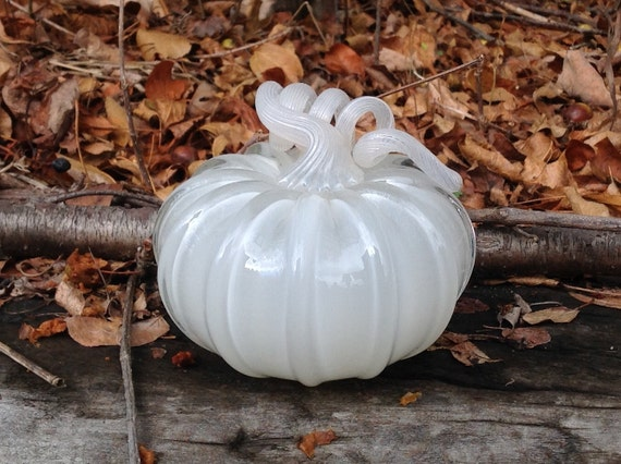 "4"" Glass Pumpkin by Jonathan Winfisky -Retro Opaque Ivory - Hand Blown Glass"