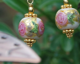 Lampwork Rose earrings, vermeil earrings, gold earrings, srajd