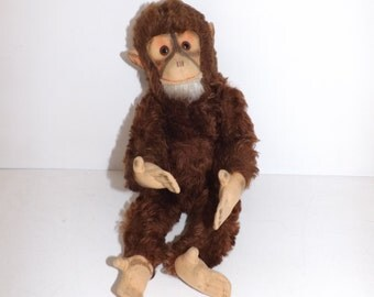 Vintage 1950s German monkey chimpanzee chimp ape jointed brown mohair straw filled soft toy with squeaker collectable