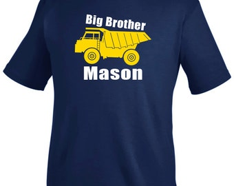 Big brother shirt, personalized dump truck t shirt, sibling t shirt, dump truck shirt