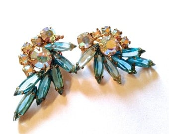Juliana Aqua Blue Rhinestone Earrings Vintage Retro Bridal Wedding Jewelry