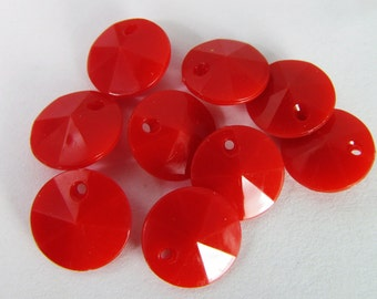 50 Vintage 10mm Faceted Red-Orange Charms Drops Pendants Pd786