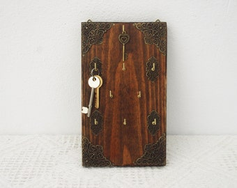 Key Holder , Wall Hanging Key Rack, Organizer, Wall Mount Storage, Key Hooks, Rustic Wooden Hanger