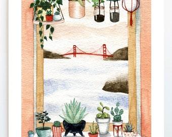 Art Print, Plants + Bridge Watercolor Painting, Golden Gate Bridge, Succulents