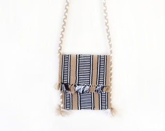 small - neutral tan black striped fringe tapestry braided woven long strap purse