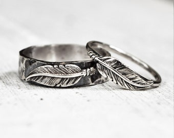 Hammered Sterling Silver Feather Rings - Pair - His & Hers -  BFF - Unisex - Bohemian - Woodland - Unique Wedding Bands
