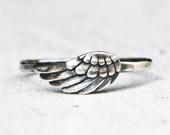 Sterling Silver Angel Wing Ring -Thin Hammered Band - Remembrance Jewelry - Devotional Jewelry - Spiritual Jewelry - Faith - Love