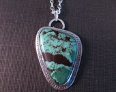Green Turquoise in Stamped Sterling Pendant