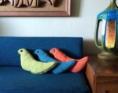 MOD bird toss pillows Groovy Vintage 60s MCM Mid Century Modern Style Home Decor in Orange Green and Turquoise Blue Cute Living Room Bedroom