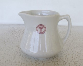 US Army Medical Department Milk Cream Pitcher Sterling China USA Restaurant Ware 1940s