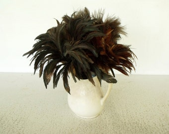 3 Vintage Feather Dusters Variety Bouquet Ostrich Rooster Irridescent