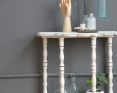 Wooden Half Moon Side Table / Entry Table. Shabby Chic