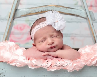 White Frayed Flower with a Pink Rose Center headband, perfect for all ages, newborn photo prop, shabby edges, white flower