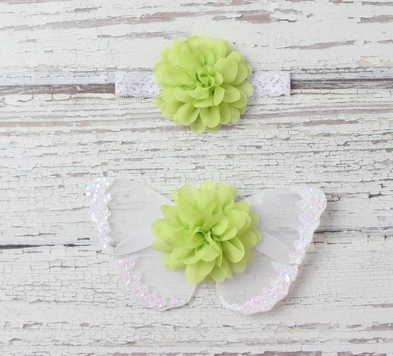 Lime green butterfly wing set for newborn photos, photo prop, newborn photographers, new baby, baby girl, baby wings