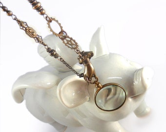 Steampunk Monocle, Magnifying Glass Necklace, Glass Lens, Long Necklace, Steampunk Gears Hand