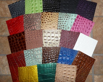 """Leather 12""""x12"""" ALLIGATOR / Croc grain embossed Cowhide Choose your color! 2-3.5oz / .8-1.4mm PeggySueAlso"""