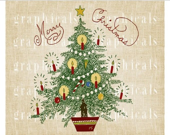 Christmas tree Holiday red green instant graphic Digital download image for iron on fabric transfer Burlap craft Tote Pillow Tags  No. 2150