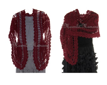 Red Wrap Hand Crocheted Shawl Long Large Scarf Handmade Stole USA