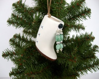 Ornament, Southwestern ceramic ornament, American Indian miniature moccasin