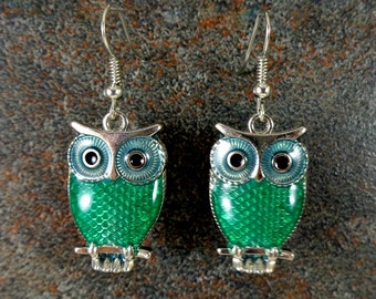 Owl Earrings, Animal Earrings, Green, Green Owls, Enamel Earrings, Silver, Cute Earrings, Owl Charm Earrings, Owl Jewelry
