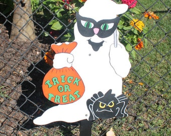 Ghost Dressed Up as a Cat for Halloween Yard Sign / Decor / Art