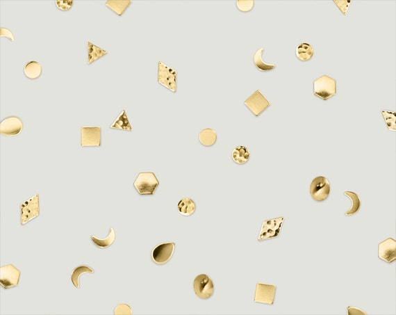 "geometric brass single stud post earring // ""TRIER"""