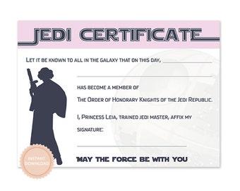 INSTANT DOWNLOAD Star Wars Jedi Certificate (Princess Leia, Star Wars Birthday, Jedi, Darth Vader)