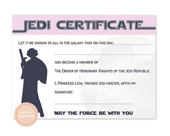 Instant download star wars jedi certificate princess leia for Star wars jedi certificate template free