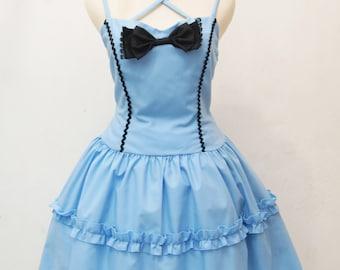 Alice in Wonderland Dress Blue Sweetheart Frill Cotton - Alice Costume - Tea Party Dress - Sweet Lolita Dress - Sweetheart Neckline
