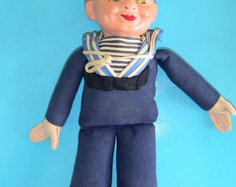 Holland America Cruise Line Souvenir Sailor Doll 1940s Antique Doll Christmas Gift