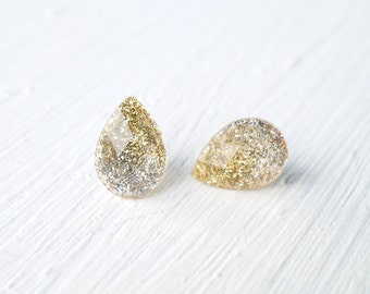 Gold and Silver Ombre Glitter and Resin Stud Earrings