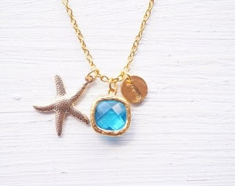 Blue Charm Gold Starfish Initial Necklace