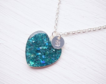 Teal Glitter Resin Silver Pendant Heart Initial Necklace
