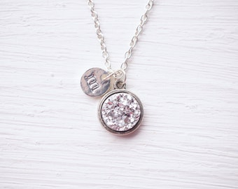 Silver Faux Druzy Initial Necklace