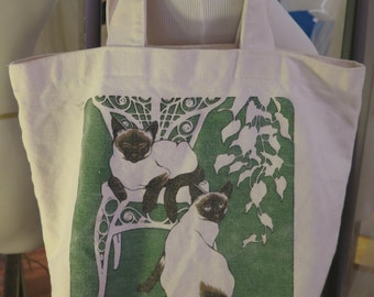 Vintage 80's Exquisite Deco Design Siamese Cats Canvas Library/Grocery/Accessory Tote Bag