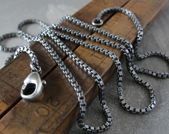 Sterling Silver classic box chain 24 inch long necklace (1.5mm) antique style oxidized for RQP Studio wax seal jewelry