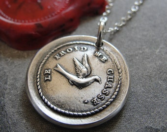 Wax Seal Necklace Coldness Drives Me Away - antique French wax seal motto - swallow  charm jewelry in fine silver
