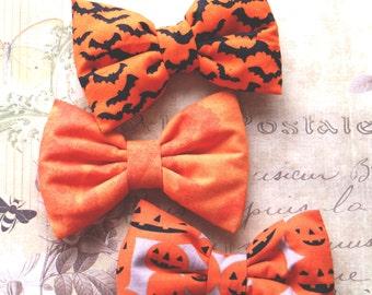 Halloween bow tie. holiday hair clips. Bow tie orange, Girls hair clips, halloween costume, Prop, Photographer. orange halloween
