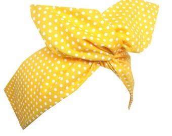 Yellow & White Polka Dot wire Headband Pin up Hair Wrap