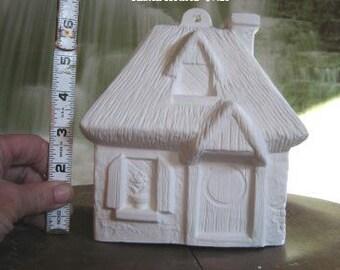 Thatch House,Cottage House, Minature house, train track, Race track, Village Scene, Vintage house, Ready to paint, ceramic bisque,u-paint