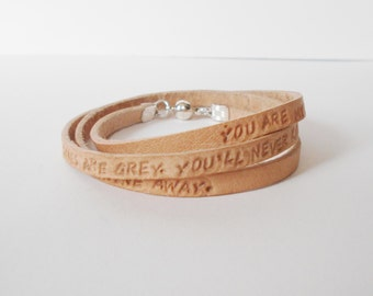 personalised leather wrap bracelet, you are my sunshine leather cuff,  handstamped leather cuff, customised unisex cuff, quotation cuff
