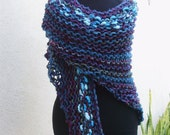 Shade of Teal Knit Shawl--Find A Cure Knit Wrap