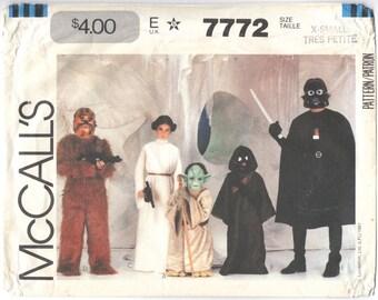 Vintage official Star Wars children's costume pattern: Chewbacca, Princess Leia, Yoda, Jawa, Darth Vader -- McCall's 7772